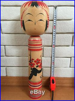 17 inch 44cm Big Large Kokeshi Kyuichi Omori Togatta-kei Japan Vintage Wood Doll