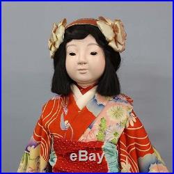 1925 Ichimatsu ningyo Girl Zen Wa Kimono Vintage Japannese Kyoto-Doll RK08