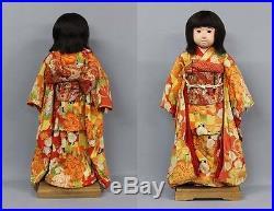 1927 Ichimatsu ningyo Girl Zen Wa Kimono Vintage Japannese Kyoto-Doll RK04