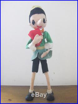 1950's vintage PINICCHIO WITH ABC BOOK felt doll puppet hand-made in Japan