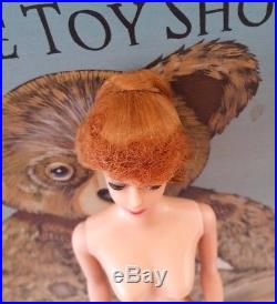 1950s Vintage BARBIE Doll Red Titan Bangs Pony tail nude 1958 #5 JAPAN on foot