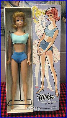 1962 Vintage Htf Rare Blonde Midge Dolloriginal Box+ossperfect Facestandec