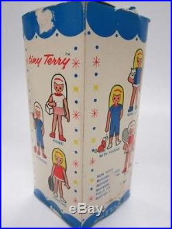 1966 Vintage Japan My-Toy Tiny Terry Doll Straight Red Hair Picnic Basket