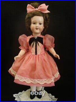 20 tall c1920 Morimura Dolly face bisque head doll in Vintage dress