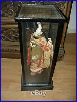 A Beautiful Japanese Doll Vintage In Glass Case