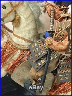 Antique Japanese Samurai Warrior w Horse Dolls Old VTG Oriental Art Kimono Japan
