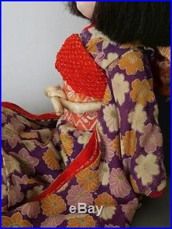 Antique Vintage Japanese Ichimatsu Girl Doll Glass Eyes Human Hair Silk Kimono