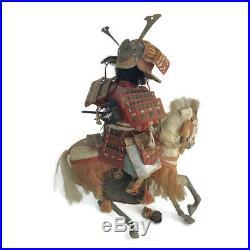 Antique Vintage Japanese Samurai Gofun Male Doll Horse Meiji Musha Warrior As Is