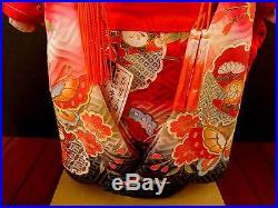 Beautiful Vintage Japanes Traditional Ichimatsu Ningyo Silk Kimono Girl Doll R