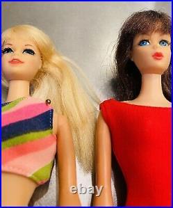 Blonde & Brunette Twist Turn TNT Vintage Barbie Dolls Rooted Hair Eyelashe Japan