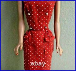 Breathtaking Vintage Lemon Bubblecut Barbie Wearing Mint Red Dotted Sheath