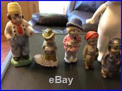 Estate Find Lot of 11 Vintage Bisque Japanese Dolls Indian Cowboy Original Paint
