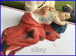 HAKATA DOLL Japanese Tattoo master & woman Geisha Oiran Ukiyo-e Figure Vintage