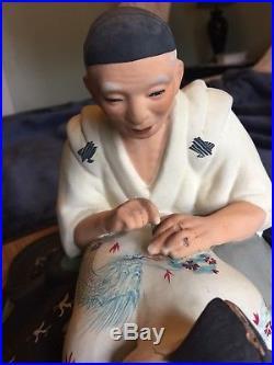 Hakata Urasaki Doll Vintage 1950's Japan Tattoo Artist And Woman