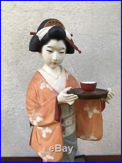 Handmade Vintage Clay Pottery Hakata Doll Figurine Geisha Uchikake Kimono Japan
