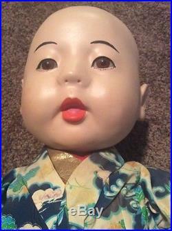 Ichimatsu Doll Vintage Gofun Kimono Glass Eyes Baby Child Japan 17 Squeaker Box