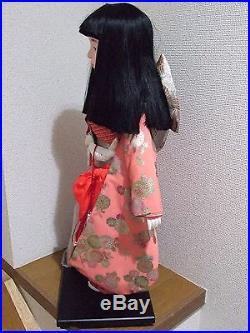 Japan Vtg. 63cm(25 inches)Tall ICHIMATSU Girl/Hina Doll/chrysanthemum Silk KImono
