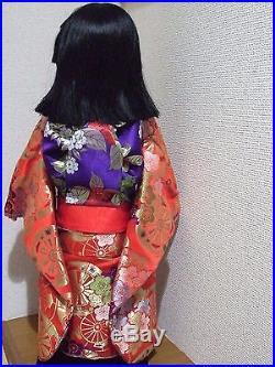 Japan Vtg. 65cm(26inches)Tall ICHIMATSU Girl/Hina Doll/SAKURA & UME Silk KImono