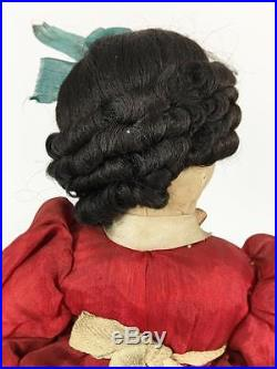 Japan Vtg Big Eye Cloth Doll Sister Lot 2 Wood Base Pose Handpaint International