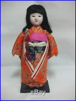 Japanese Ichimatsu Doll A Juho 46cm kimono Vintage with tag Made in Japan