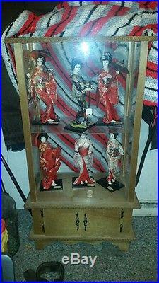 Japanese Japan antique dolls Collection NISHI DOLL Vintage 6 total display case