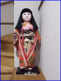 Japanese Vtg. 67cm(26.3'')Tall Furisode Girl/Ichimatsu Doll/SAKURA KImono/ningyo