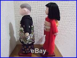 Japanese Vtg. ICHIMATSU couple Boy & Girl/Hina Doll/Ningyo/Silk KImono/figure