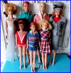 LOT OF VINTAGE BARBIE, MIDGE, KEN, ALLAN, RICKY, SKIPPER & SKOOTER 1960's JAPAN