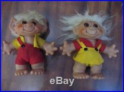 Lot Vintage TROLLS Troll Dolls Green Red Yellow Thomas Dam Mohair Denmark Japan
