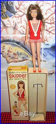 NIB 1963 JAPAN VTGSKIPPER DOLLORIGINAL BOXBRUNETTE#950OutfitHeadbandStand