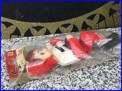 NOS 1950s Vintage ELF FOOTBALL PLAYER Japan Knee Hugger Pose Able Doll Christmas