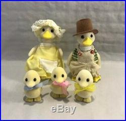 Original Vintage Sylvanian Families Complete Puddleford Ducks Family Japan 1988