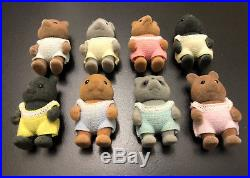 RARESylvanian Families Vintage JAPAN 8 Babies SE-105 Skunks Tanuki Raccoon Dog