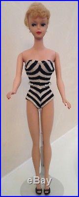 RARE 1960's Vintage Blonde #5 850 Ponytail Barbie Doll Japan Mattel Shoe Suit
