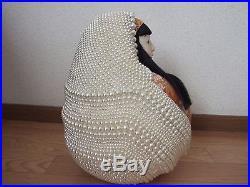 RARE/Japanese Vtg. Pearl Bead Pair DARUMA BIG doll/35cm/KIMONO KOKESHI/ichimatsu