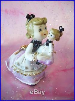 RARE VTG Japan Christmas Green Angel Girl w Look Alike Baby Doll Figurine
