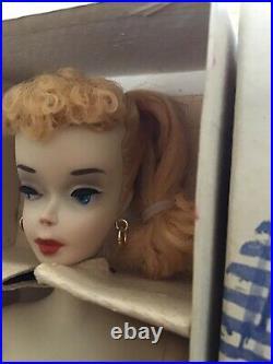 Rare! All Original Mattel Blonde Ponytail Barbie #3 Box, Liner, Stand, Booklet