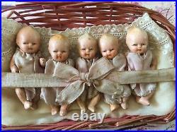 Rare Antique Miniature Set Of Quintuplets Dolls-japan-kresge-2.5-dolls House