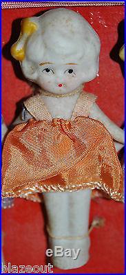 Rare Vintage Japanese Bisque Porcelain (5) Quintuplets Dolls Made in Japan