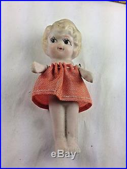 Rare Vintage Japanese Bisque Porcelain (6) Sextuplet Dolls Original Box Japan