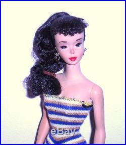 Stunning Vintage 1959 # 3 Brunette Ponytail Barbie TM Model 850 Japan Mint