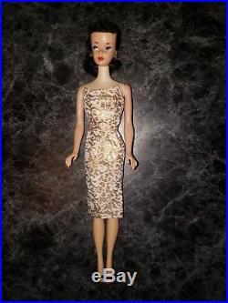 Stunning Vintage 1960 Brunette # 3 Ponytail Barbie with Rare Blue Liner Japan