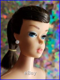 VHTF STUNNING Vintage Brunette Swirl Ponytail Barbie Doll 1964 Nude Mattel Japan