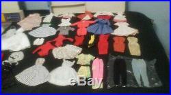 VINTAGE 1960s BARBIE LOT 7 JAPAN DOLLS, CASES, CLOTHES, ACCESSORIES, & STANDS