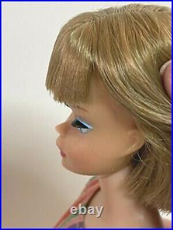 VINTAGE 1960s VHTF Long Haired AMERICAN GIRL BARBIE DOLL IN ORIG SUIT Minty