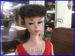 VINTAGE BARBIE PONYTAIL BRUNETTE #6 WithRED SWIMSUIT & JAPAN MULES BEAUTIFUL