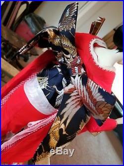 VINTAGE GEISHA DOLL 24 IN RED KIMONO/Kimono girl Ningyo Maiko Japanese doll