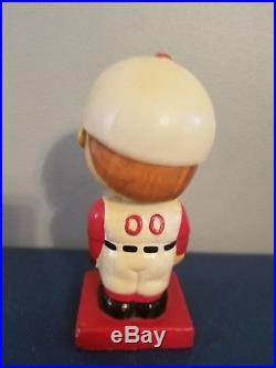 VTG 1960s CINCINNATI REDS MASCOT BOBBLE HEAD NODDER DOLL RED BASE JAPAN