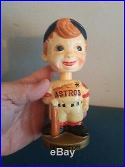 VTG 1960s HOUSTON ASTROS BOBBLE HEAD NODDER DOLL GOLD BASE JAPAN