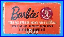 VTG BARBIE BLONDE BUBBLECUT withBOX Red OSS, Blk OT Heels Japan, Stand, Book 1962